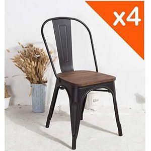 CHAISE KOSMI Lot de 4 chaises Noires et Bois Style Indust