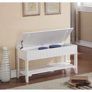 BANC Banc Coffre de rangement avec étagère bois blanc -