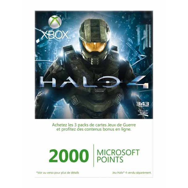 PACK ACCESSOIRE XBOX LIVE 2000 MICROSOFT POINTS HALO 4