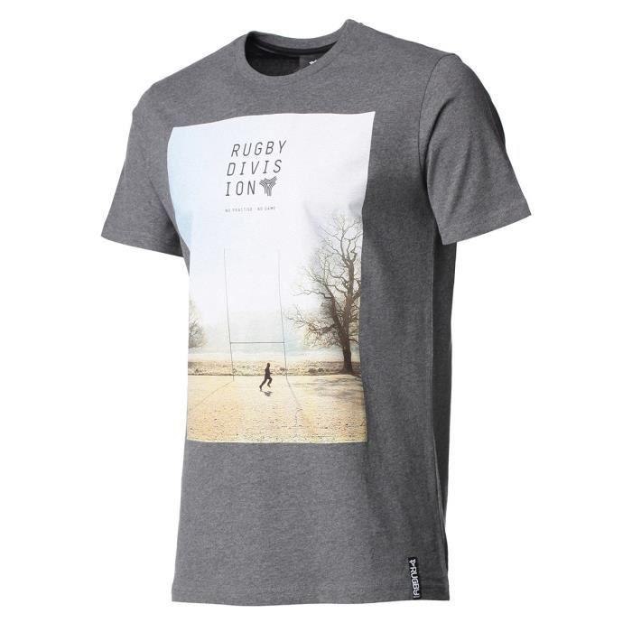 RUGBY DIVISION - Tee shirt manches courtes PRACTISE gris foncé 100% coton