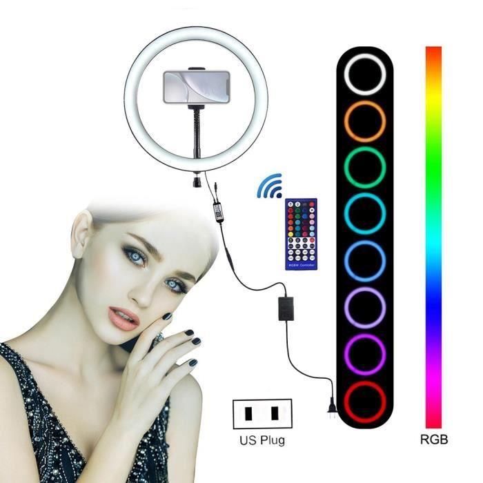 Anneau lumineux 9 pouces avec support de téléphone Tête de berceau 8 modes d'éclairage RGB LED Light Video Caméras et accessoires