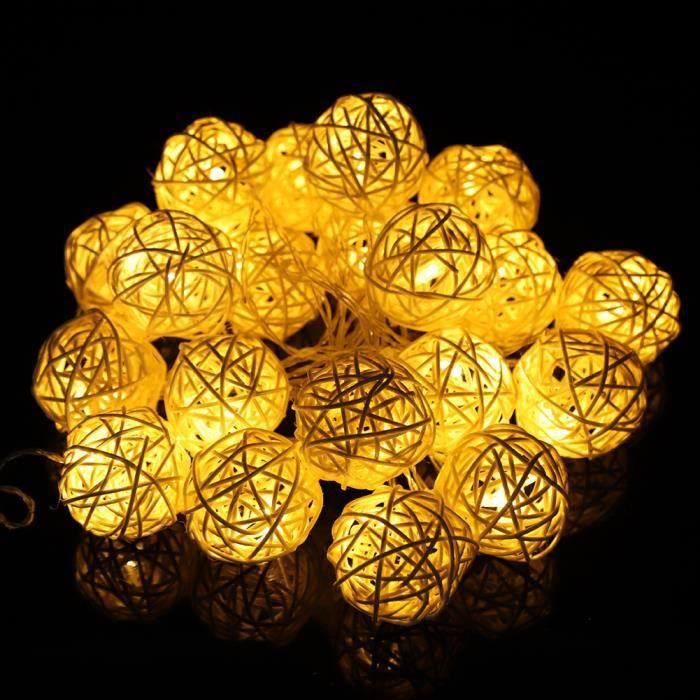 Romantic Globe Rattan Ball Guirlande Lumineuse LED Sepak Takraw Style Lampe, 20 Veilleuses Blanc Chaud Pour Chambre