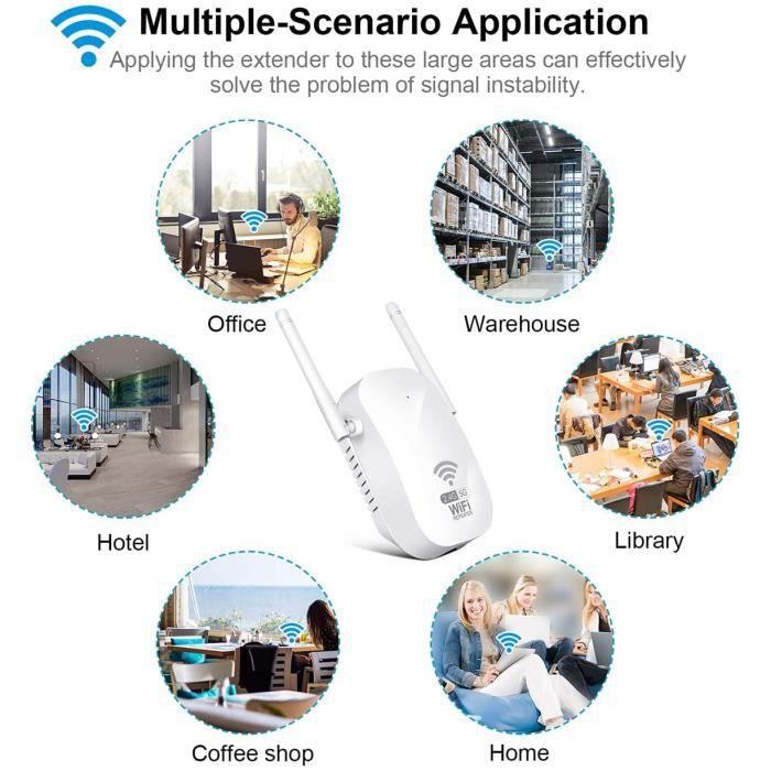 1200Mbps Répéteur WiFi Amplificateur WiFi sans Fil Puissant, Repeteur WiFi Bi Bande 5GHz/2.4GHz WiFi Répéteur sans Fil