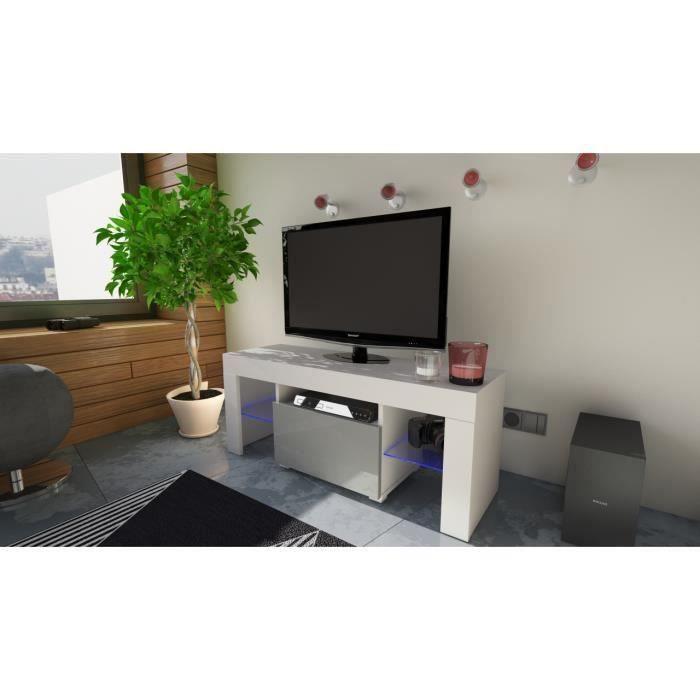 Meuble tv 110 cm en blanc et façade gris