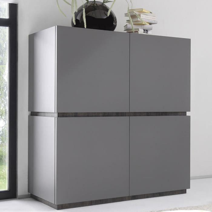 Buffet haut laqué design gris 4 portes VALERONA 2 Option 1