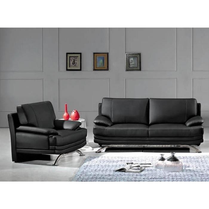 ROMA - Ensemble canapé design 3+2 en cuir noir