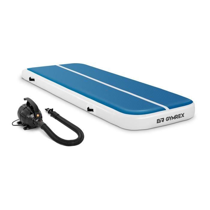 Air Track Tapis Gonflable Gymrex GR-ATM4-SET (300x100x20cm 150 kg 10 PSI / 07 bar PVC Nylon ABS Bleu/Blanc Pompe Comprise)