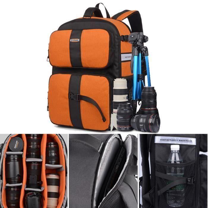 orange sac a dos appareil photo imperméable pour canon pour nikon. sac de voyage. sac a dos reflex .sac photo bandoulière.