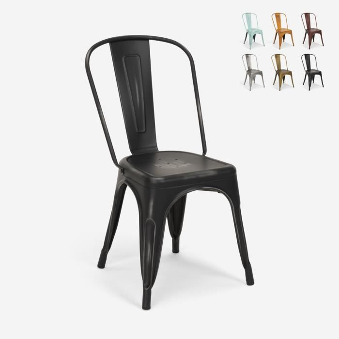 Chaises design industriel vintage en métal shabby chic style Tolix Steel Old, Couleur: Noir