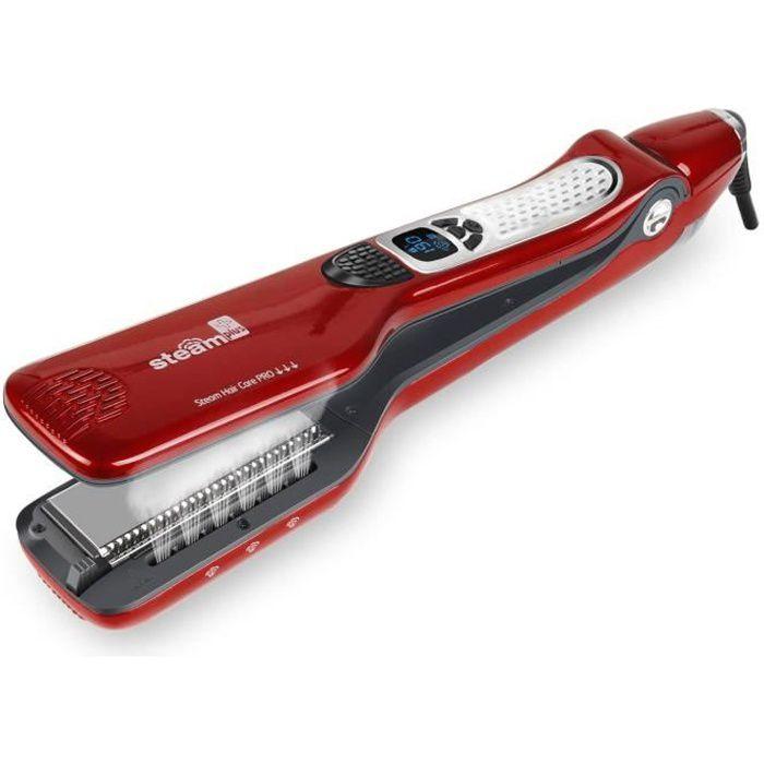 Lisseur vapeur Steamplus- Lisseur de salon professionnel - Plaques double technologie - Lissage longue durée--rouge