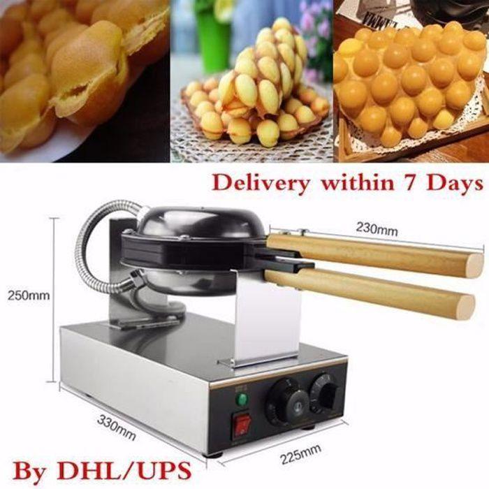 1.3Kw Gaufrier Electrique Oeuf Gâteau Four QQ Egg Waffle Baker Maker Machine 220V