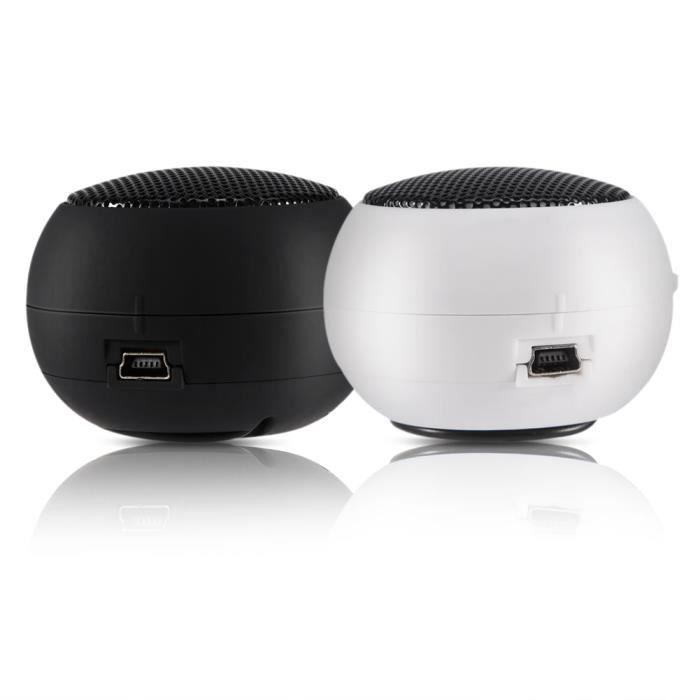 Mini haut-parleur d'ordinateur de bureau pour ordinateur portable PC portable MP3, Batterie intégrée de haut-parleur de 3,5 mm blanc