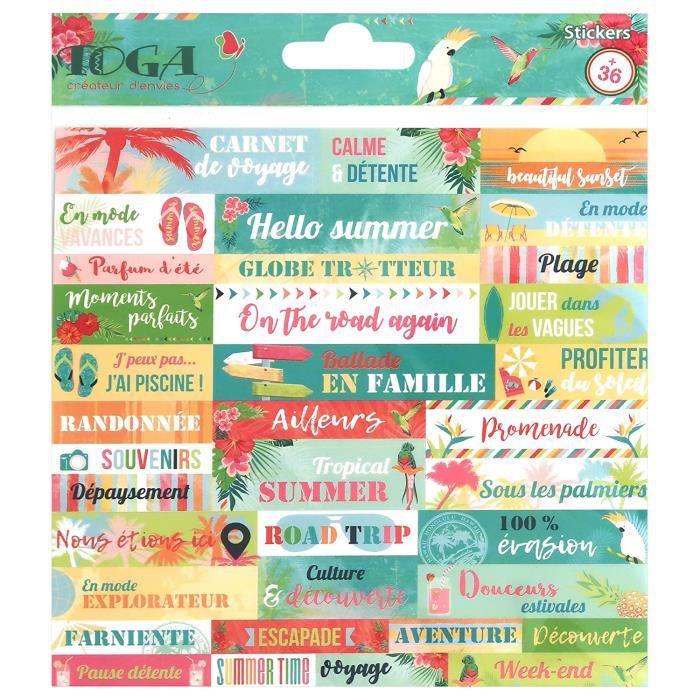 Embellissements pour scrapbooking Toga Tropical Paradise Planches de Stickers, Autre, Multicolore, 15 x 0.1 cm 25351