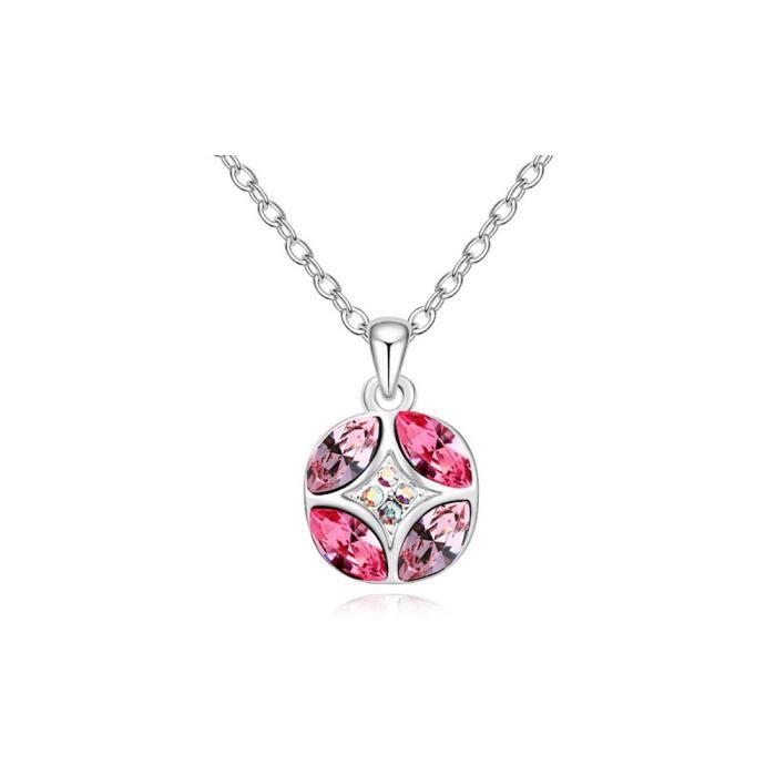 Pendentif Cercle Cristal de Swarovski Elements Rose et Plaqué Or Blanc