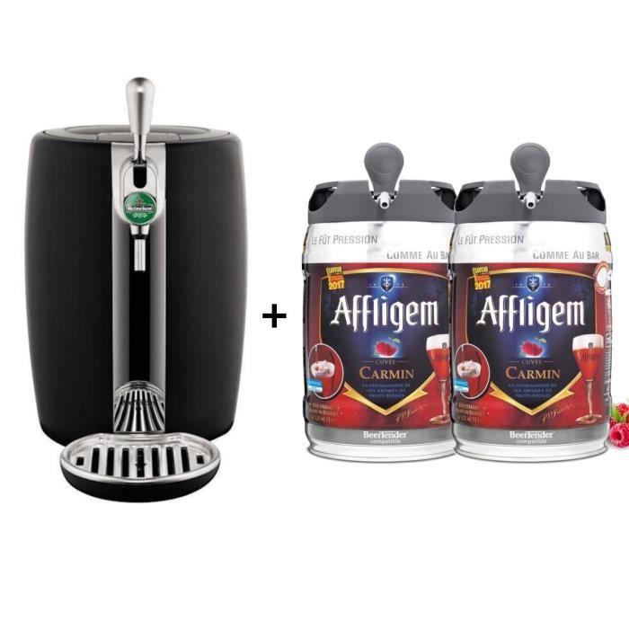 SEB Tireuse à bière Beertender - VB310E10 - Compatible fûts 5 L - Noir + 2 fûts 5L de bière AFFLIGEM CARMIN