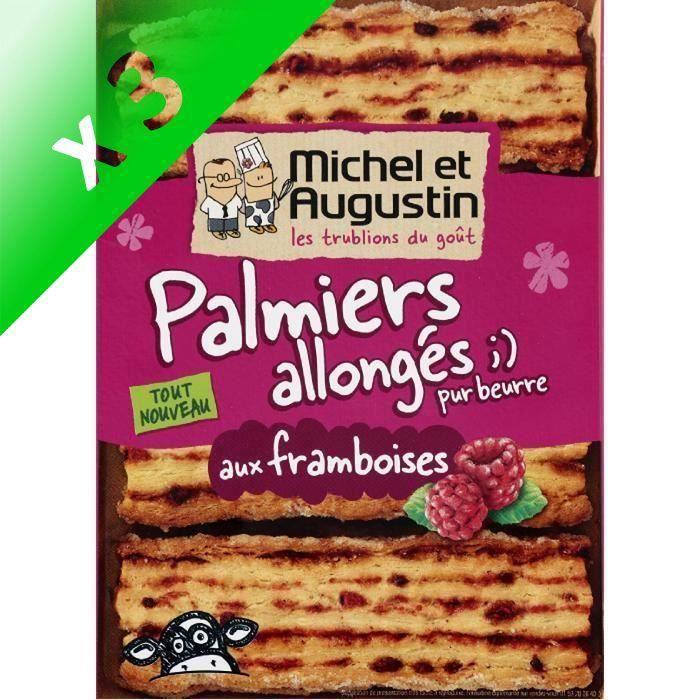 [LOT DE 3] Biscuits palmiers framboises 120g Michel et Augustin