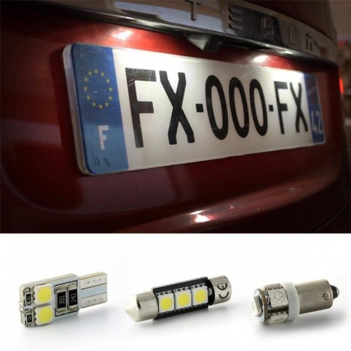 Pack upgrade LED plaque d'immatriculation pour AUDI 80 (8C2, B4) 09/91-12/94 avec un simple phare composé de 5 chipsets LED haute p