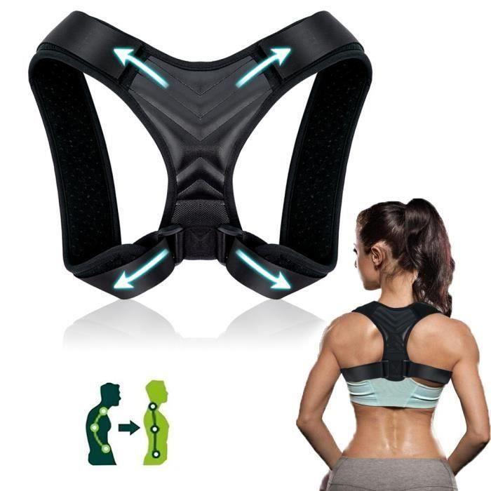 Correcteur de posture, Back Straightener pour femmes et hommes -Support dorsal ajustable correcteur de posture (ajustement 37-49'')