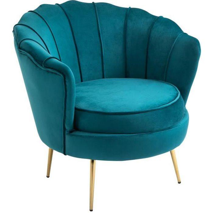 Fauteuil coquillage fauteuil design dim. 79L x 77l x 77H cm pieds dorés effilés velours bleu canard 79x77x77cm Bleu
