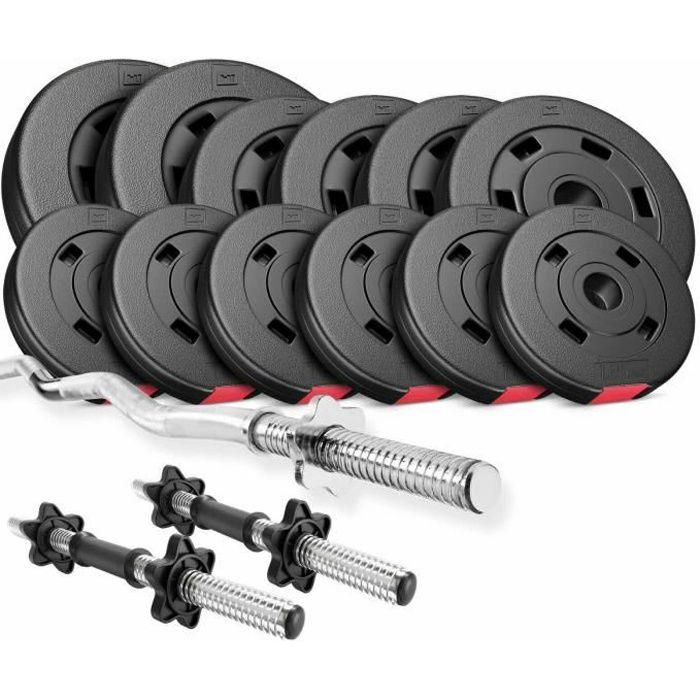 HS Hop-Sport 36 kg, 1x Barre Curl SZ, 2X Barres Courtes, Plaques de Poids 2x5 kg, 4x2,5 kg, 6x1,25 kg