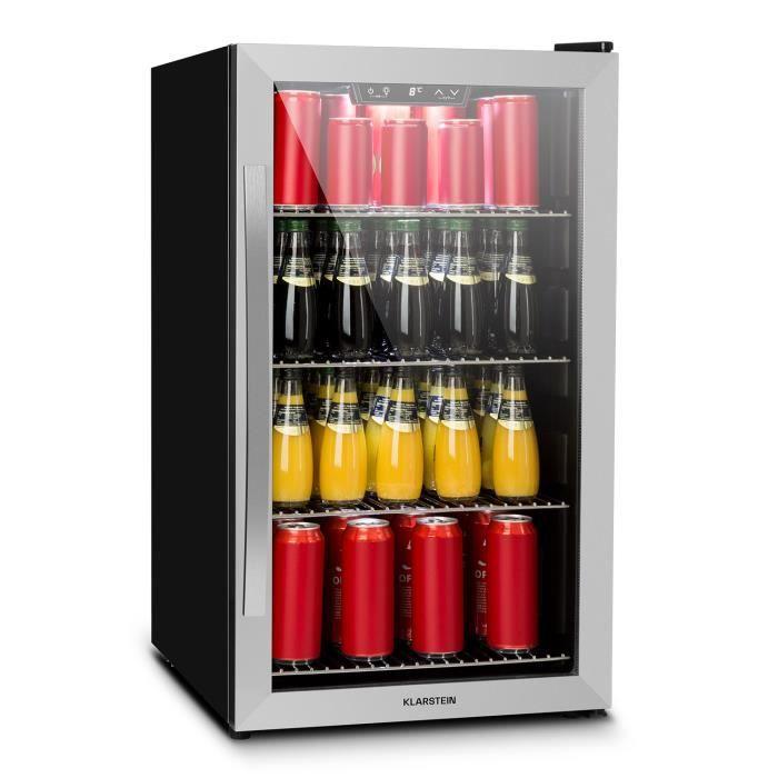 Klarstein Réfrigérateur à boissons 124 litres - 0 à 10°C- Minibar pose libre ou encastrable - Verre & inox - Classe énergétique A+