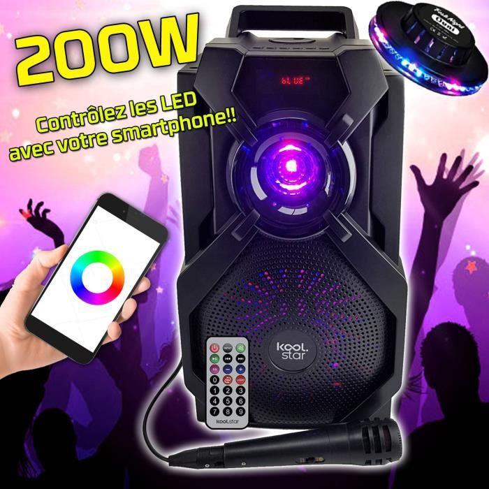Enceinte Appplication smartphone Karaoké Autonome SUBLIM08 200W DJ SONO Koolstar LED micro/Fonction BT/USB/AUX/ + OVNI