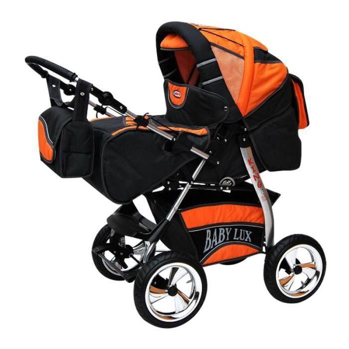 King 4 en 1 Poussette combinée avec siège auto + ISOFIX Poussette Canne et accessoires 36 platine & orange