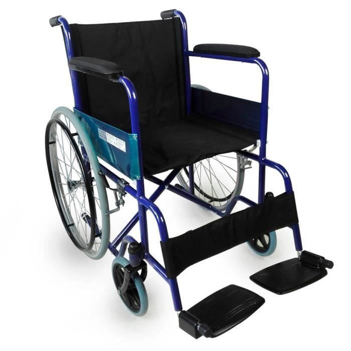 Fauteuil roulant pliable - orthopédique - léger - bleu - Alcázar - Mobiclinic