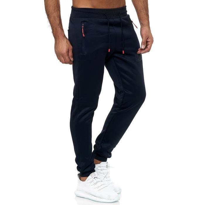 Pantalon de survêtement pour homme à rayures Pantalon de sport [Bleu, M]