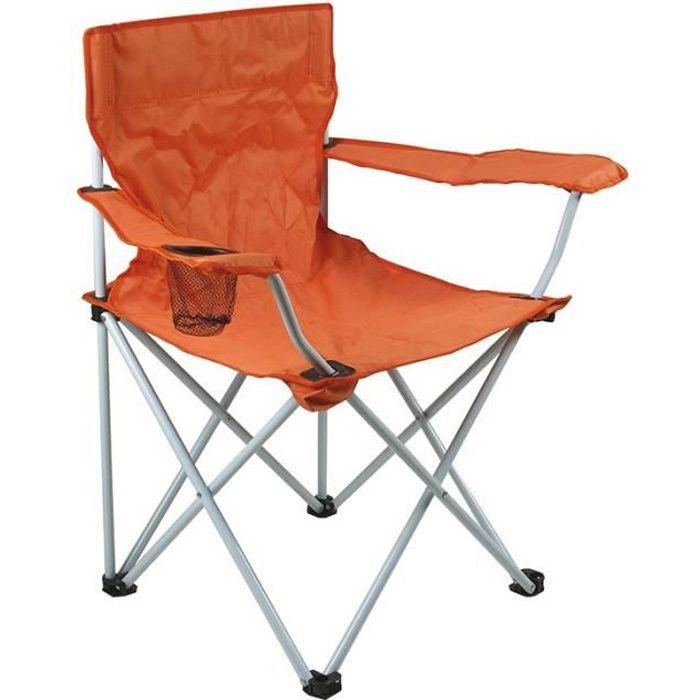 Fauteuil de camping pliant orange OSE - Gris