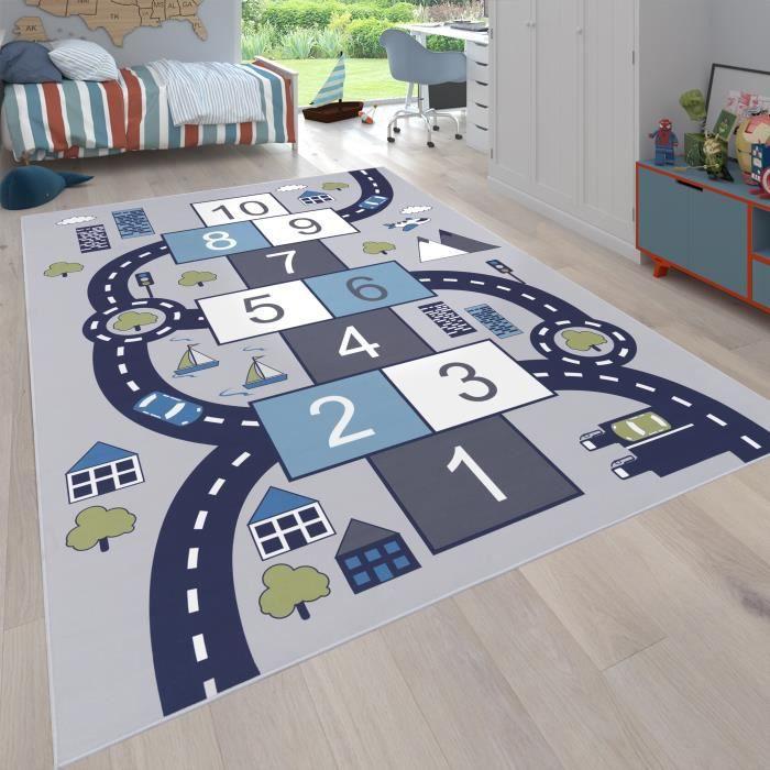 Tapis pour enfants, Tapis de jeu pour chambres d'enfants, Boîtes gonflables et rues, Gris [Ø 160 cm rond]
