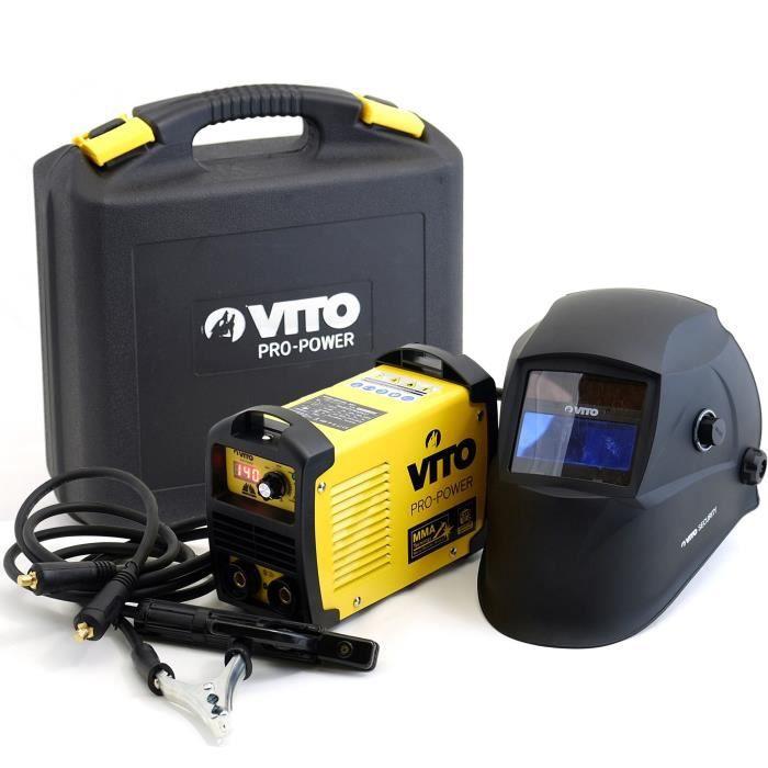 VITO Poste à souder inverter V140 - Livré avec cagoule électronique 9 / 13, gant de soudeur anti-chaleur et lot électrodes 2,5 mm