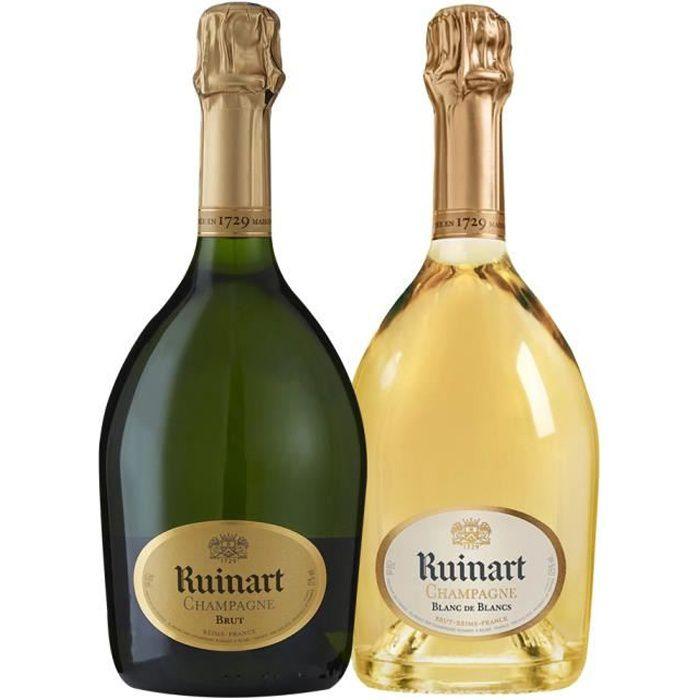 Champagne - Assortiment 2 bouteilles Ruinart R Brut - Ruinart Blanc de Blancs - 2x75cl