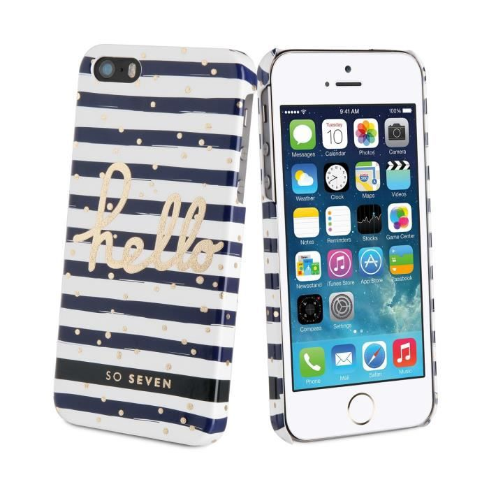 SO SEVEN Bundle BORD DE MER Coque+STYLO+CARNET-Bleu IPHONE 5/5S/SE