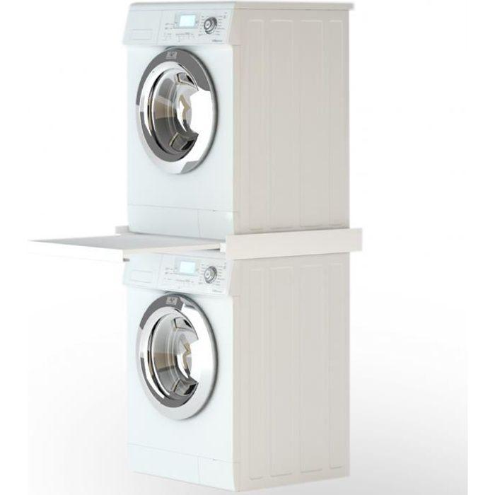 60 x 60 x 8 cm Kit d'empilage avec étagère coulissante pour Machine à laver