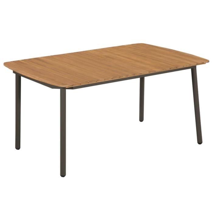 Table d'extérieur Bois d'acacia solide et acier 150x90x72 cm - Brun - Meubles de jardin - Tables d'extérieur - Brun - Brun 150 x 90
