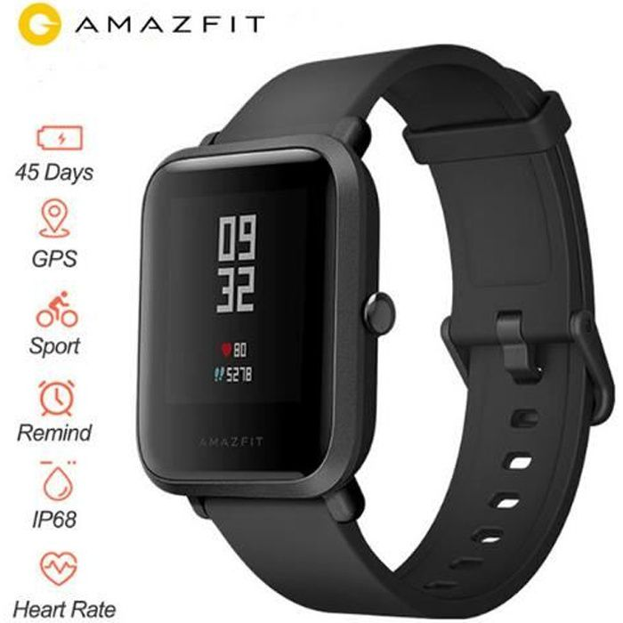 Montre Connectée Xiaomi Amazfit Bip Huami Intelligente Watch Mi Pace Lite GPS IP68 Gloness Fréquence Cardiaque - Noir