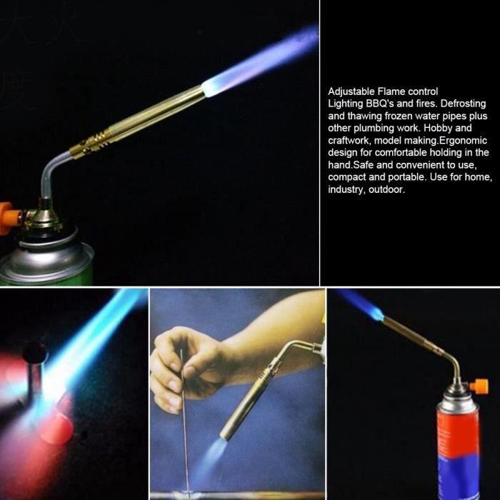 Chalumeau en acier inoxydable, torche à gaz, brasage au gaz butane Camping pour la cuisson à souder HB023