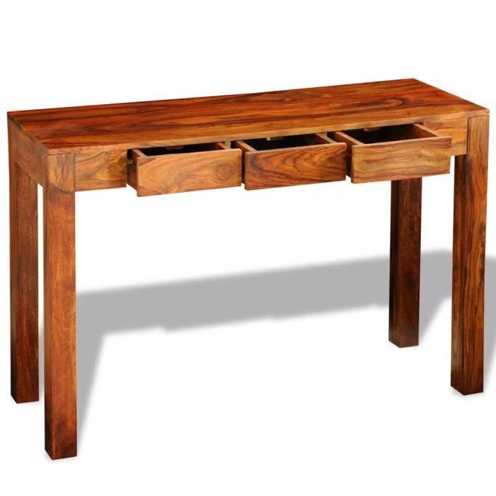 TABLE BASSE HWA Table Console avec 3 tiroirs 80 cm Bois Massif