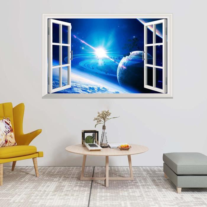 Planètes espace étoiles univers 3D smashed wall art stickers home office decor