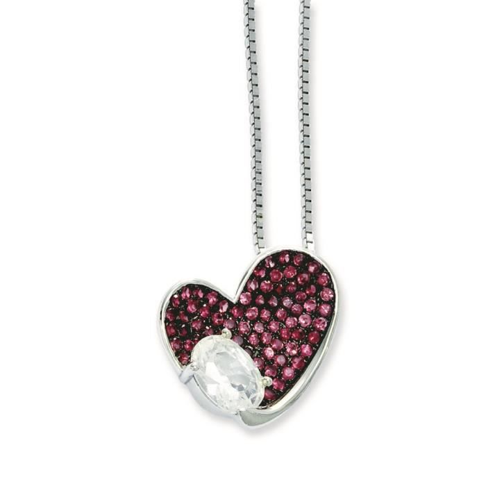 Argent Sterling braises CZ brillant Rose-Collier Coeur 18 cm