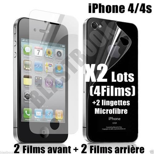 2 lots films prot ge cran iphone 4 4s achat film protect t l phone pas cher avis et. Black Bedroom Furniture Sets. Home Design Ideas
