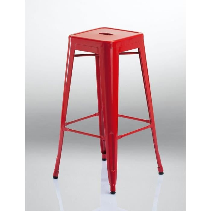 tabouret de bar style factory fer rouge industry achat vente tabouret fer cdiscount. Black Bedroom Furniture Sets. Home Design Ideas