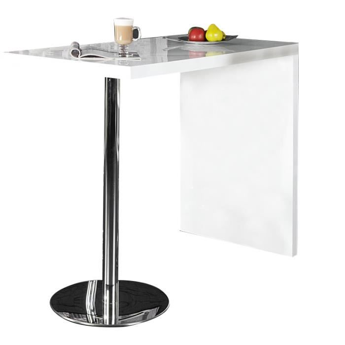 Table bar blanche design bois et m tal achat vente for Achat table bar