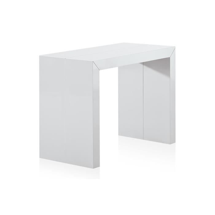 Table Console Extensible Pas Cher 250 Cm Blanche Laquee Nina Xl