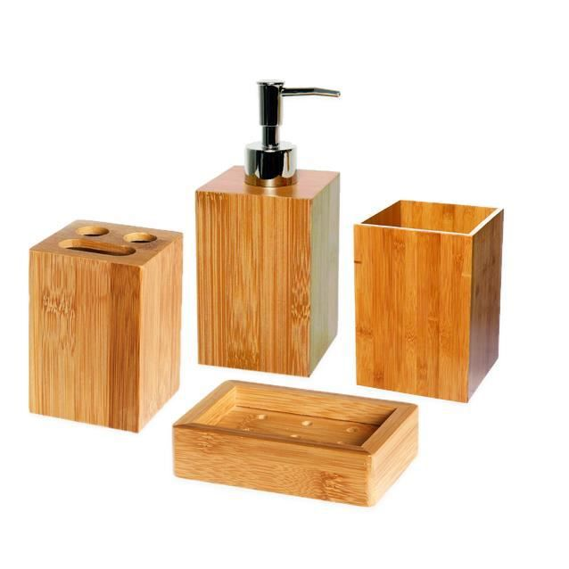 accessoires salle de bain bambou bois. Black Bedroom Furniture Sets. Home Design Ideas