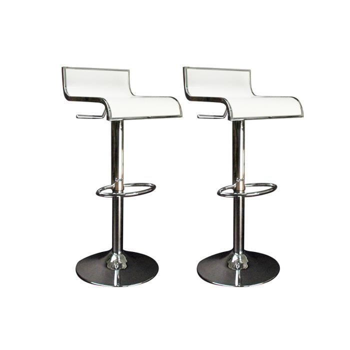 tabourets de bar cuisine blanc waves lot de 2 achat vente tabouret de bar cdiscount. Black Bedroom Furniture Sets. Home Design Ideas
