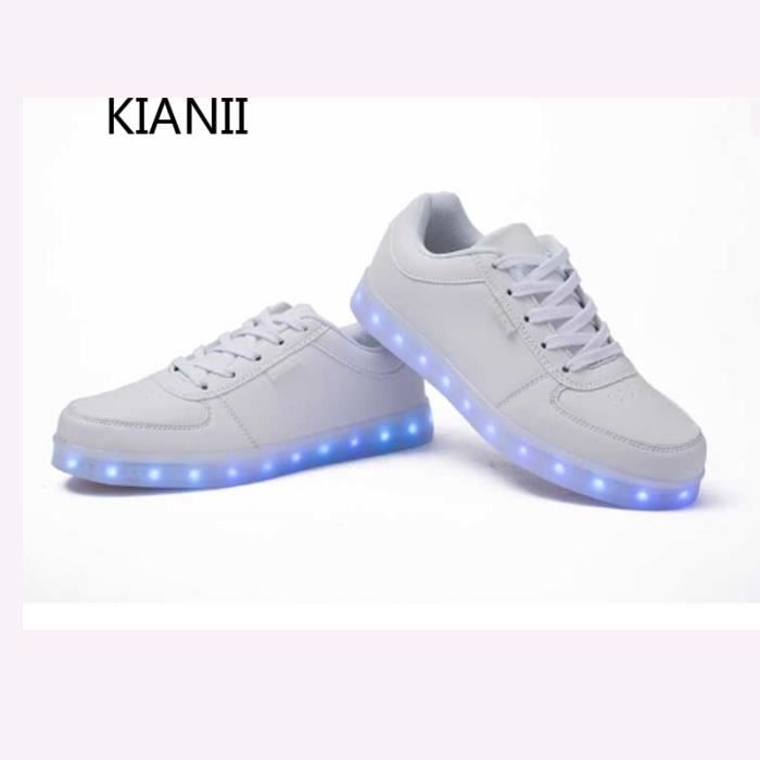 Kianii-Chaussures lumineuses LED 7 Couleur USB Charge Baskets Blanc Mqz54