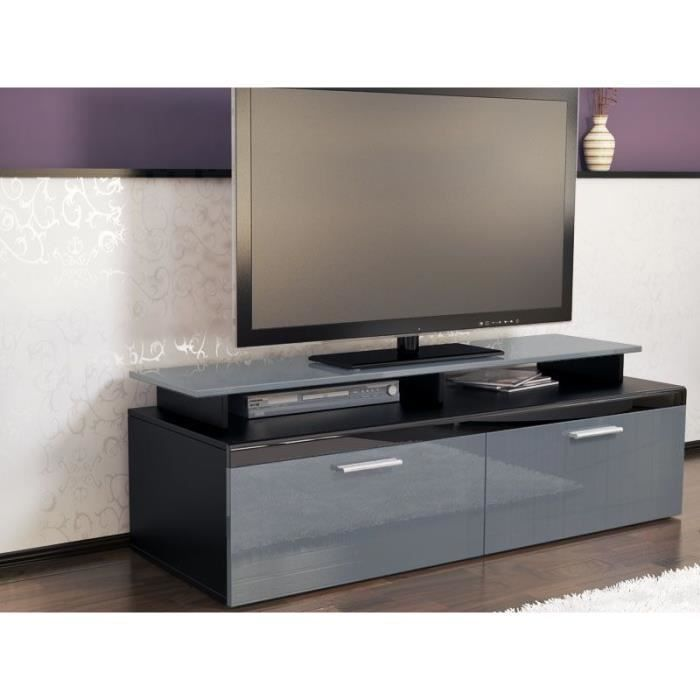 meuble tv noir et gris achat vente meuble tv meuble tv. Black Bedroom Furniture Sets. Home Design Ideas
