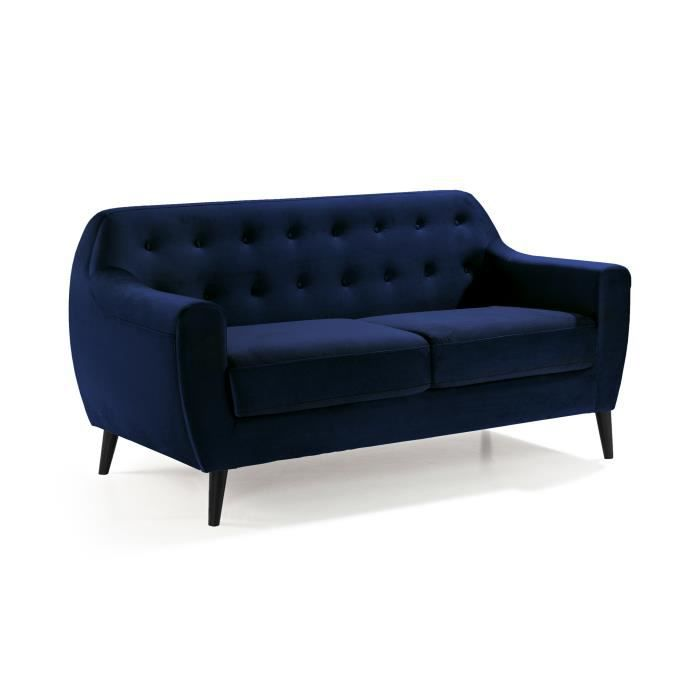 stockholm canap 2 places velours bleu nuit achat vente canap sofa divan cdiscount. Black Bedroom Furniture Sets. Home Design Ideas